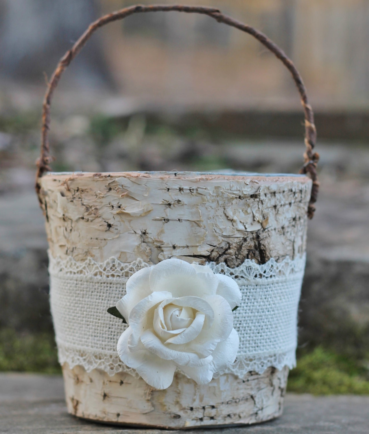 Rustic Burlap Flower Girl Baskets : Birch bark rustic flower girl basket burlap lace and a paper