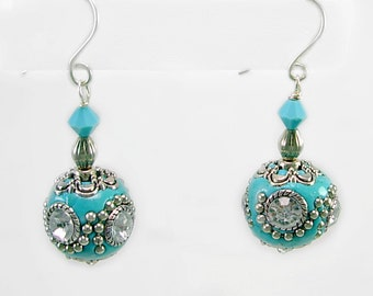 Turquoise Kashmiri, Swarovski & Sterling Earrings, Unique Artisan crafted beads, Aqua, handmade ear wires