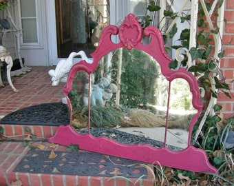 Princess Pink Mirror Chic Tiara Crown Top Ghosty Spots Antique Shabby Chic Painted Vanity Triple