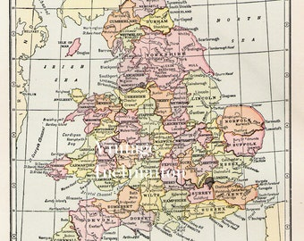 Antique 1950s ENGLAND and WALES Vintage Map atlas page