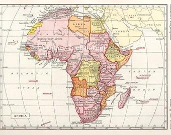 Antique 1950s AFRICA Vintage Map atlas page