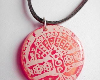 CLEARANCE SALE Tree of Life Pendant Necklace Ivory Lace Over Pink Gold Resin Gray Suede Cord Sterling Silver