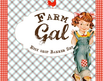 Etsy Shop Banner Set w/ New Size Cover Photo - Vintage Farm- 6 Piece Set  - Adorable Country Farm Gal Wearing Overalls