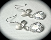 Silver Earrings - orchids - Cubic Zirconia's - Sterling silver - Teardrops - Bridal jewelry - Bridesmaids -