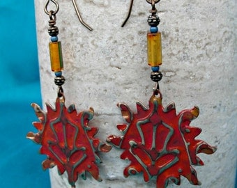 Sunny Painted Metal and Gemstone Earrings