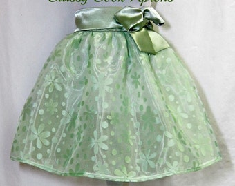 Half Apron, GREEN Sheer Floral ORGANZA & SATIN, Cocktail Glamour, Elegant Hostess, Pretty Party Unique Gift