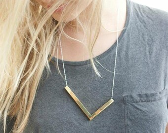 Chevron Necklace, Bar Necklace, Minimalist necklace, Everyday Necklace, Modern Necklace, Gold Necklace
