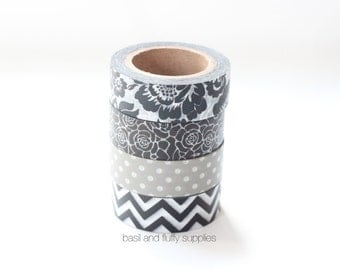 Chevron Floral Polka Dots Gray Black and White Washi Tape Four Rolls Set Washitape Paper Tape