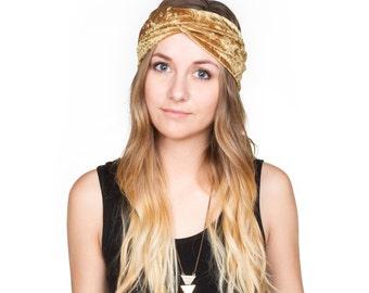 Gold Crushed Velvet Turban Headband Stretch Turband