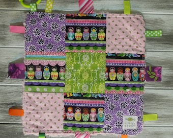 "Baby Ribbon Blanket Tag Lovey ""RIBbee"" Boutique Patchwork Sensory Toy - Soft Minky Fleece Backing - nesting dolls"