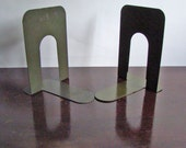 vintage pair of green metal bookends large / New Year get organized