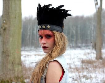 Black star feather headband, festival headdress, feather headpiece