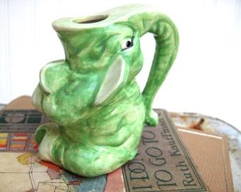 Vintage elephant posy vase mint green figurine pachyderm