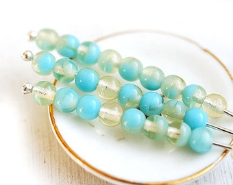 Czech glass beads in Blue and amber yellow, tender mix, round spacers, glass, druk - 4mm - approx.70Pc - 0665