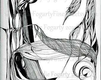 Abstract Art, Original, Black and White, Ink Art, Abstract Line Drawing, Modern Abstract, Original Art, Fantasy art