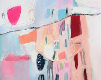 "ABSTRACT print of painting, fine art, giclee print, white, blue, pink, red, modern painting ""No man's land"""
