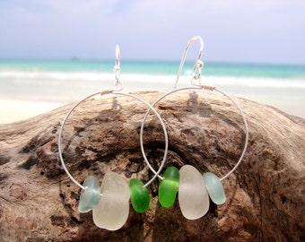 Hawaiian Aqua Blue, Emerald Green, & Clear Beach Glass on 925 Sterling Silver Circular Wire Small Hoop Earrings