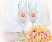 Wedding champagne glasses, polymer clay wine glasses, peach toasting flutes, hand painted wine glasses,pink  champagne flutes, roses pearls