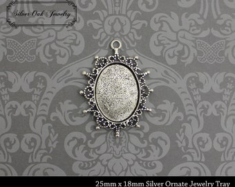 SOJ-056: Set of 5 - 18mm x 25mm Ornate Antique Silver Pendant Trays - vintage cameo, 18 x 25, cameo tray, DIY, metal, necklace supplies