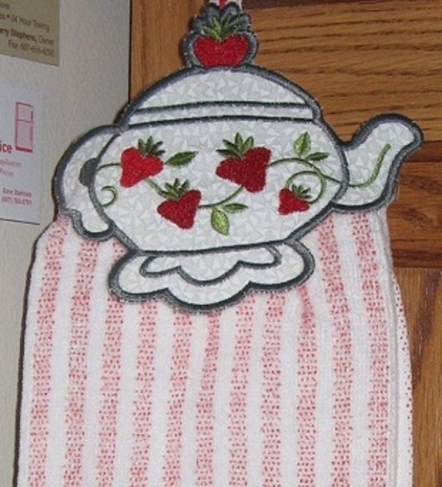 Did Fieldcrest Towels Go Out Of Business: Towel Topper Teapot Embroidered