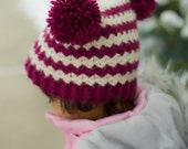 Chevrons and Pom-Poms Hat CROCHET PATTERN instant download - beanie