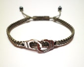 Tibetan Silver Handcuffs Charm Macrame Knot Friendship Cord Bracelet