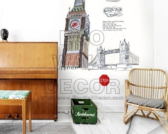 PEEL and STICK Removable Vinyl Wall Sticker Mural Decal Art - London Big Ben and Tower Bridge