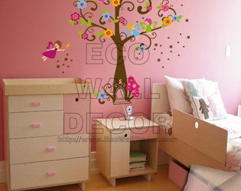 PEEL and STICK Removable Vinyl Wall Sticker Mural Decal Art - Angels Tree for Kids