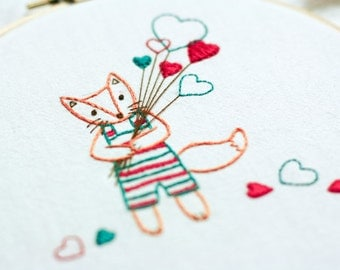 Fox with Hearts - Animal Hand Embroidery Pattern