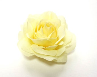 Light Yellow Rose - Fabric Flower Hair Accessory or Pin - Bride or Bridesmaid
