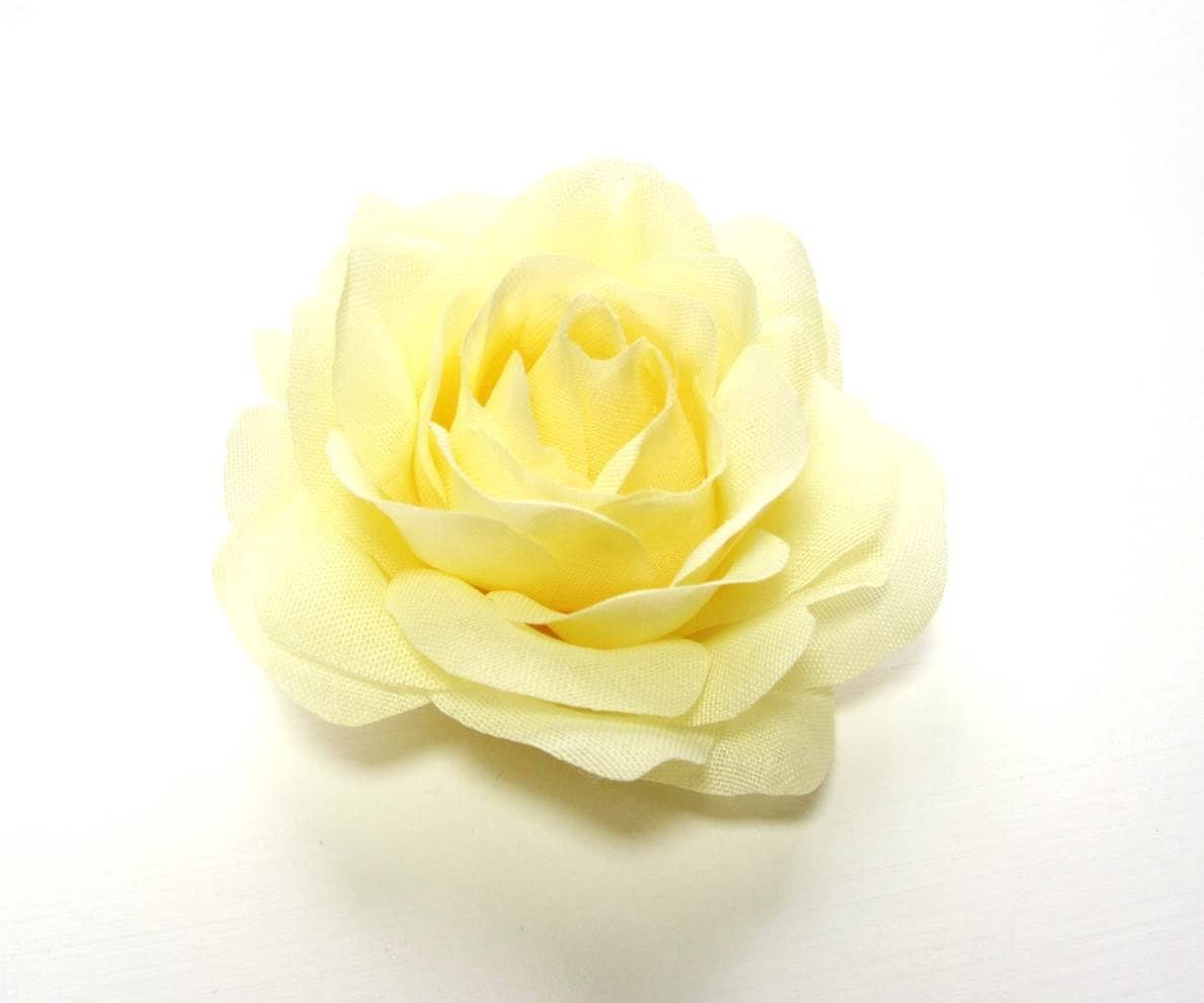 Light Yellow Rose Fabric Flower Hair Accessory Or Pin