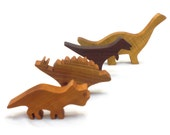 Wooden Dinosaur Toy Play Set, Gift for Boys, Kids Wooden Toy, Stegosaurus, Brontosaurus, Triceratops, T-Rex
