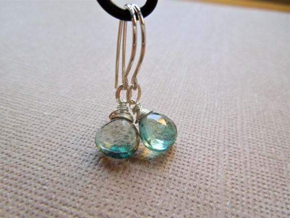 Green Mystic Quartz Earring, Single Drop (D81)