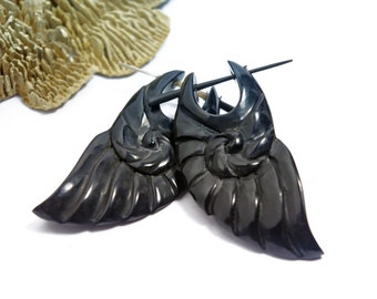 Post Earrings Black Horn Spiral Sea Shell Tribal Earrings - Black Horn - PE026 H G2