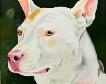 "Custom dog portrait hand painted on a 8""x10"" canvas, pet painting, gift for pet lover"