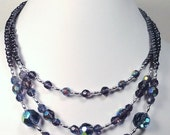 Purple Crystal Necklace in Triple Strand Style