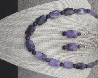 Purple Amethyst Necklace with matching Earrings