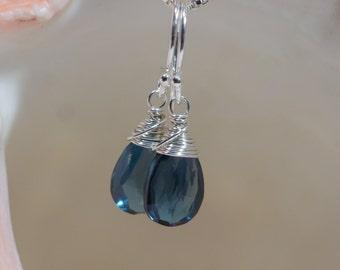 London Blue Topaz Earrings Drop Earrings Gemstone Earrings Birthstone jewelry