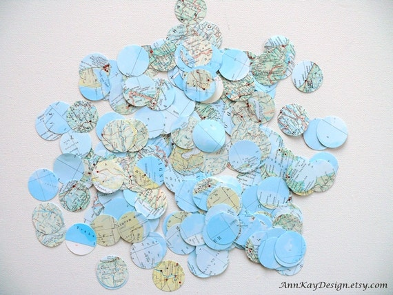 Atlas Map Confetti 200 Pieces 1 inch Paper Circles