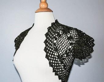Black and gold crochet shrug bolero, bridesmaid bolero, wedding shrug