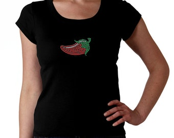 Chili Pepper RHINESTONE t-shirt tank top sweatshirt S M L XL 2XL - Fire Hot Caliente Jalapeno Bling