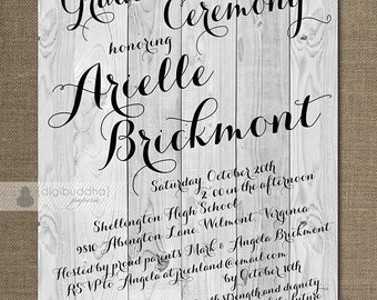 Rustic Graduation Invitation Ceremony Calligraphy Wood Invitation Modern Handwritten Script Printable DIY or Printed - Arielle Style