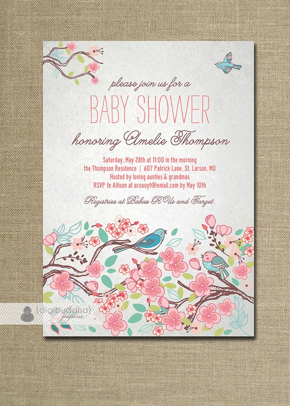 bloom bird baby shower invitation garden tree floral baby girl  etsy, Baby shower invitations