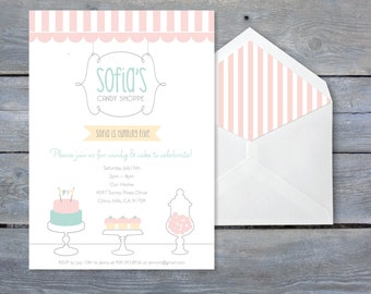 SWEET Shoppe Invitation for Birthday - Printable file 7x5, includes printable pattern