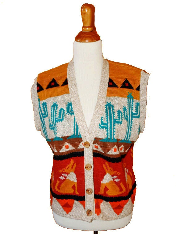 1980s SOUTHWESTERN sweater vest with coyotes and cacti size large / XL