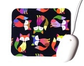 Fox Mouse Pad / Home Office Dorm Room Decor / Black and Multicolored Foxy Owls Fabric