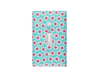 SALE / Aqua Coral Nursery Decor / Daisy Light Switch Plate Cover / Baby Girl Kids Room / Michael Miller