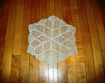 Vintage Doily Hand Crocheted Lace Tan Round Large 14 Inch