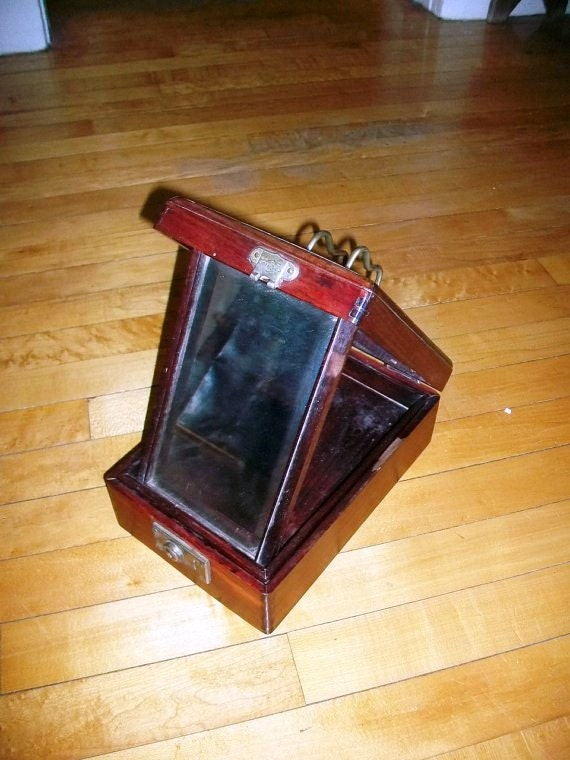 Vintage Shaving Kit Box W Fold Out Mirror 1800s