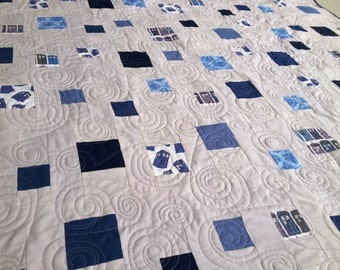 "Doctor Who Tardis Made to Order ""Timey Wimey"" quilt throw blanket"
